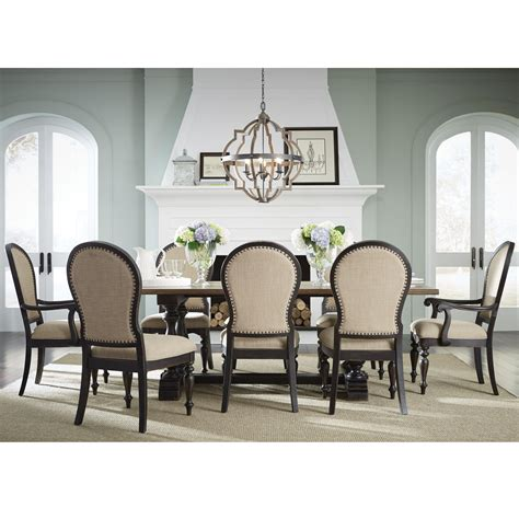 standard furniture cambria trestle table and upholstered