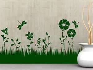 Gras An Die Wand Malen : wandtattoo blumen wiese mit libellen ~ Markanthonyermac.com Haus und Dekorationen