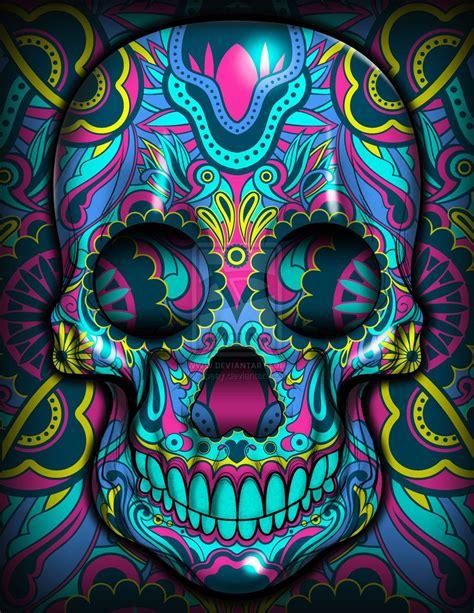 colorful sugar skull skulls la vengadora by jpeay on deviantart sugar