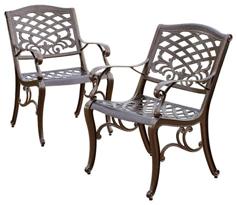 covington outdoor cast aluminum dining chair set of 2
