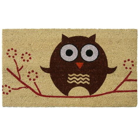 owl welcome mat rubber cal hooo s there 18 in x 30 in coir and pvc owl