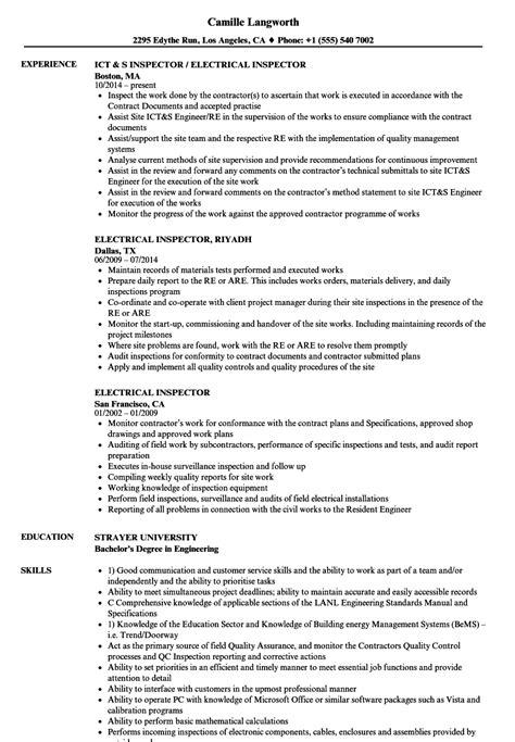 electrical inspector resume samples velvet jobs