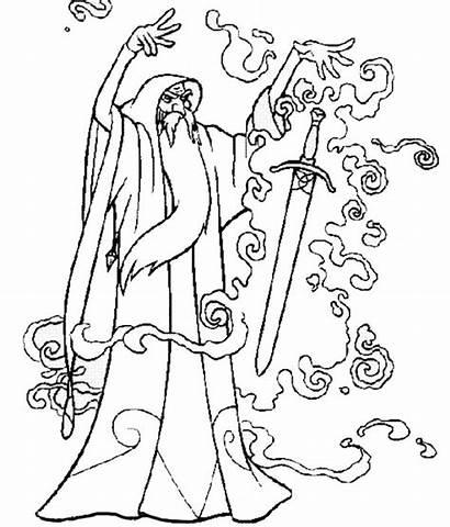 Spell Coloring Magic Wizard Sword Put Spells