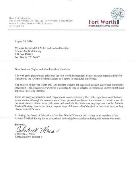 letter  fort worth independent school