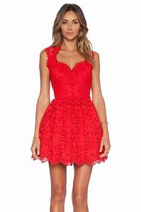 lyst alexis x revolve antilles scalloped detail dress in red With robe rouge en dentelle