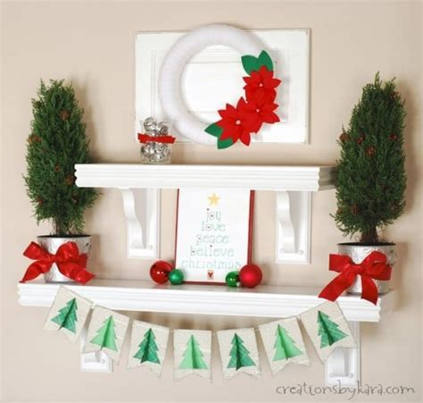 silver green and red christmas shelf decor