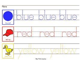 colors worksheets for preschool and kindergarten 474 | worksheet 1c 266x200px