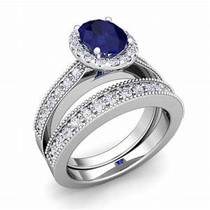Milgrain diamond sapphire engagement ring bridal set for Sapphire engagement ring and wedding band set