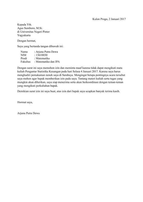Contoh Surat Ijin Tidak Masuk Sekolah by 7 Contoh Surat Izin Dan Permohonan Izin Untuk Kuliah