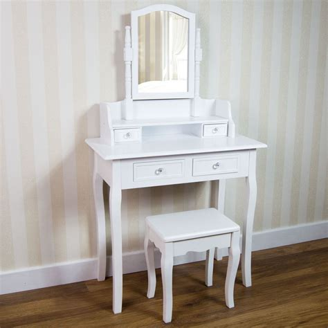 white desk with mirror nishano dressing table drawer stool adjustable mirror
