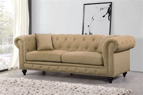 Kristopher Chesterfield Modern Sand Linen Tufted Sofa