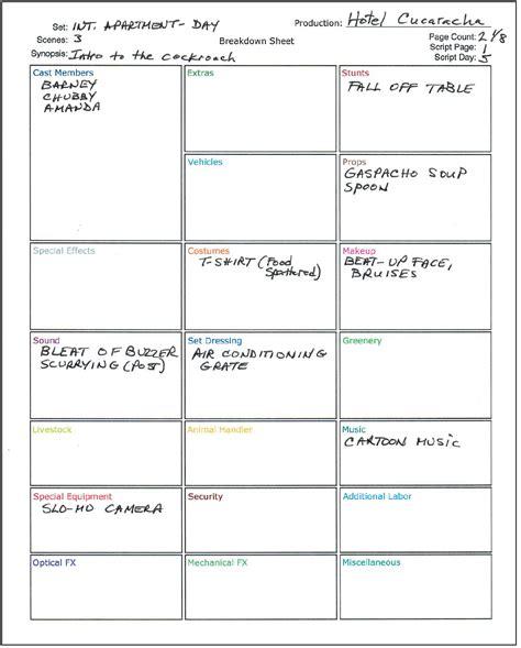 script breakdown template how to a script with free script breakdown sheet