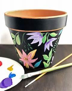 Floral, Painted, Flower, Pot
