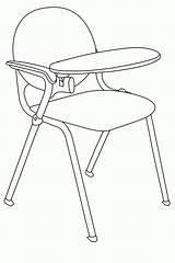 Objects Coloring Classroom Chair Outline Popular sketch template