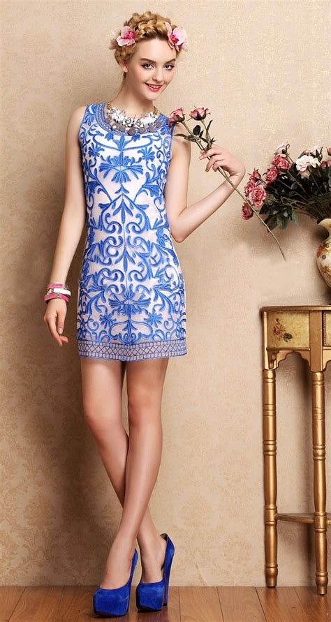 morpheus boutique white blue jacquard sleeveless floral
