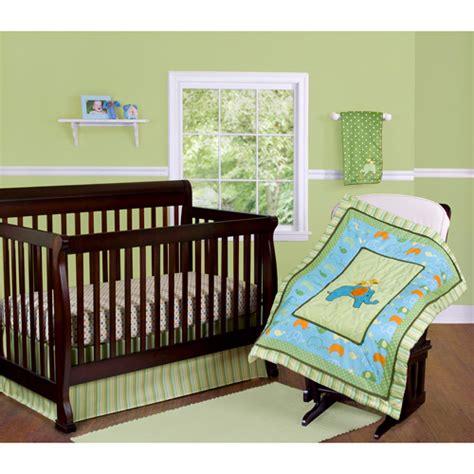 step by step elephant crib bedding 3 set green