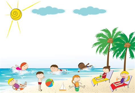 Beach Land Free Flyers Psd Templates by Children And Beach Summer Background Vector Free Vector In
