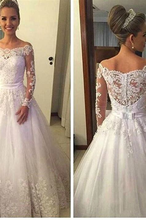 shoulder long sleeve  wedding dress
