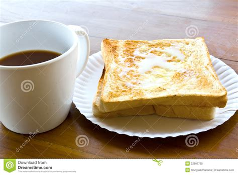 Coffee Cup And Pour The Milk Toast Stock Photo   Image: 22607760