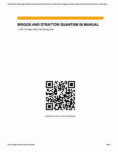 Briggs And Stratton Quantum 50 Manual By Pejovideomaker69