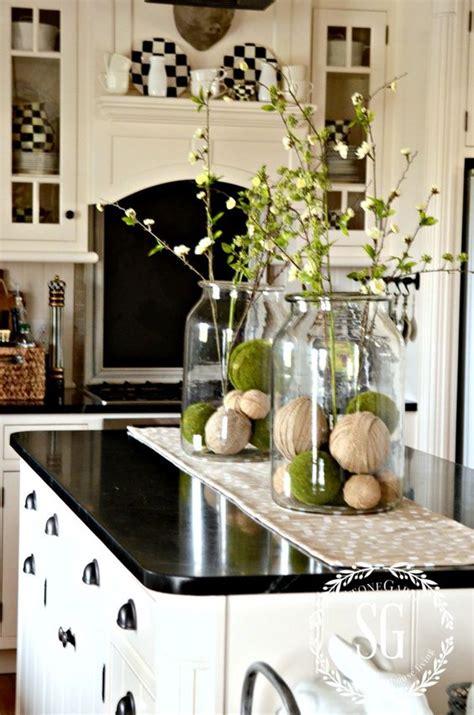 kitchen island centerpieces farmhouse spring island vignette thanksgiving kitchen island decor and jars