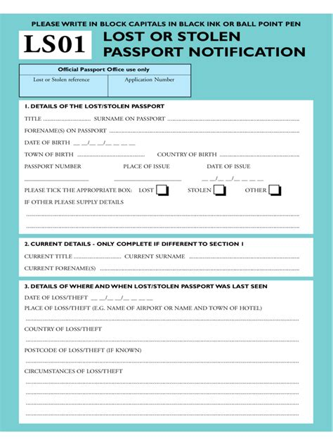 22321 lost passport form lost or stolen passport form 7 free templates in pdf
