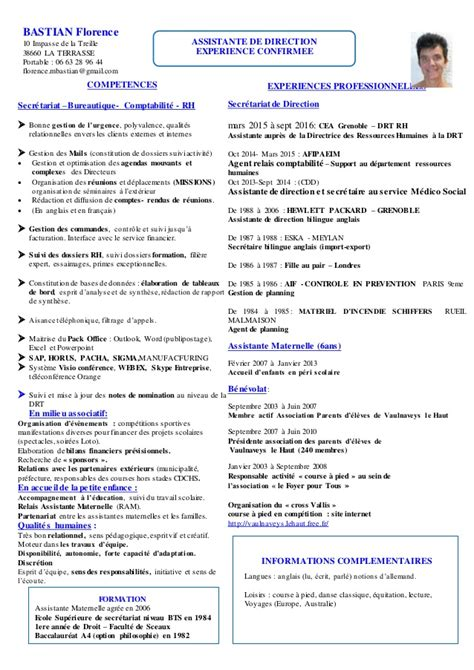 modele de cv secretaire de direction cv florence bastian assistante de direction