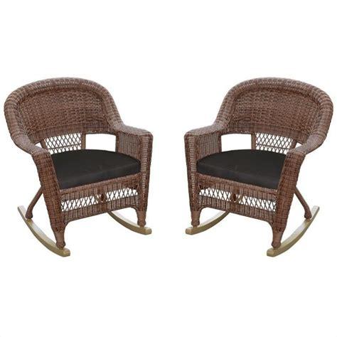 rocking chair cushion sets black jeco wicker rocker chair in honey with black cushion set