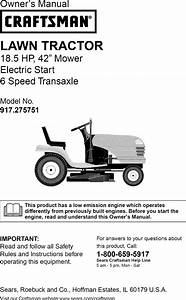 Craftsman 917275751 User Manual Lawn Tractor Manuals And