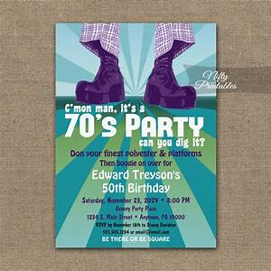 70s party invitation groovy disco printed nifty printables With 70 s wedding invitations