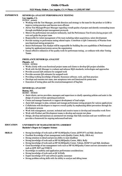 senior qa analyst resume sles velvet