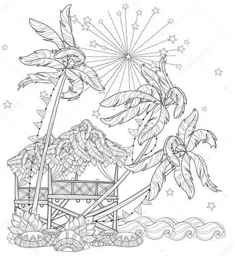 Fp 2000 Vuurwerk Kleurplaat by Getrokken Doodle Overzicht Palmboom Stockvector