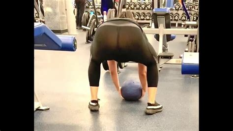 Gym Girl In See Through Leggings Bent Over Showing Her | CLOUDY ...