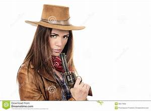 Beautiful Cowgirl With Gun Stock Images - Image: 30571964