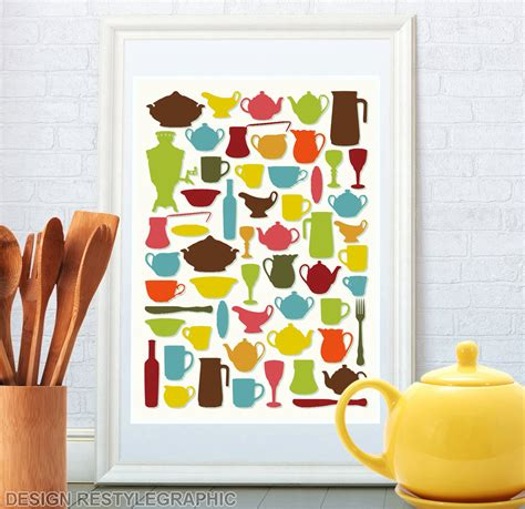 kitchen wall deco kitchen art kitchen wall decor retro tableware by restylegraphic