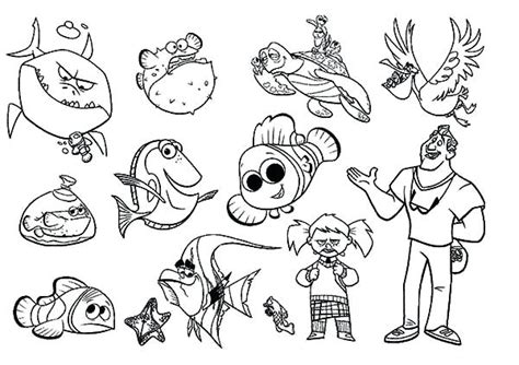 Finding Nemo Characters Coloring Pages