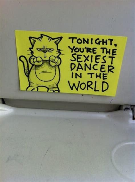 hilarious post  notes left   train  motivation