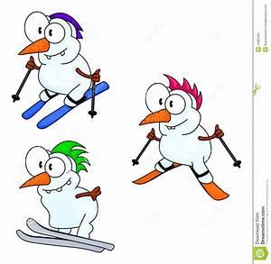 SkifahrenSchneemänner vektor abbildung Illustration von