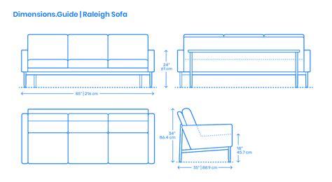 raleigh sofa dimensions drawings dimensionsguide