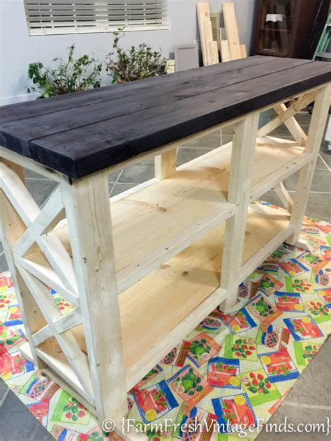 Four easy steps to create your own coffee bar. Coffee Bar, Theme Furniture Makeover Day~Inspired By Ana White - Farm Fresh Vintage Finds