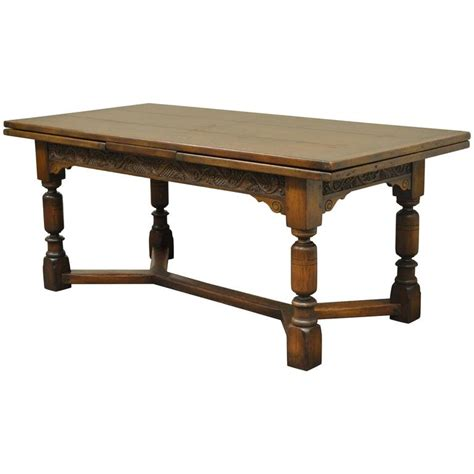 wood dining tables for 1930s solid carved oak jacobean style refectory extension 1930