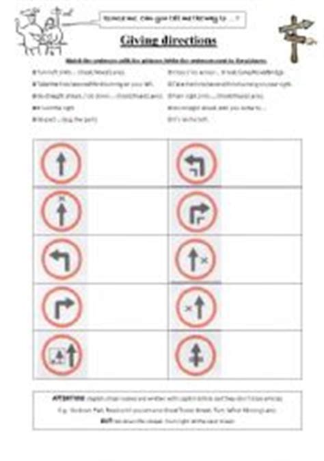 english worksheets giving directions match sentences