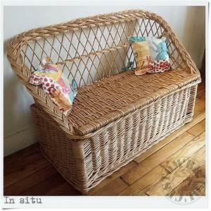 Coffre En Rotin : banquette coffre rotin vintage custom 39 bricol 39 boutique ~ Teatrodelosmanantiales.com Idées de Décoration