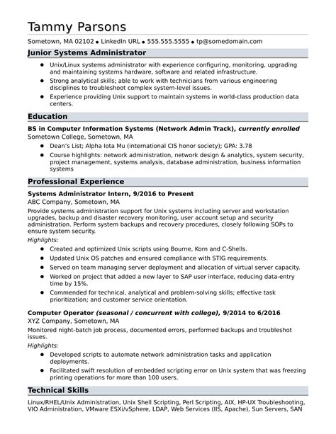 System Administrator Resume by Sle Resume For An Entry Level Systems Administrator