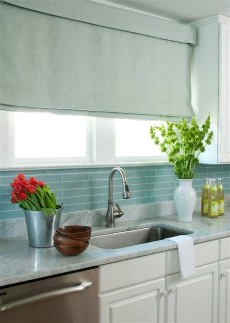 blue glass tile backsplash cottage kitchen liz