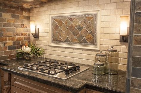 rustic kitchen backsplash tile modern yet rustic this hearth style backsplash features slate subway and pillowed travertine