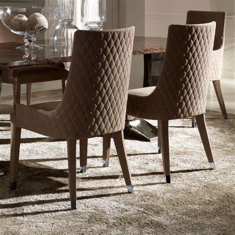 contemporary quilted nubuck leather italian dining chairs