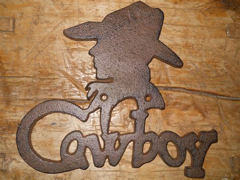Cast Iron Cowboy Sign Wall Plaque Home Decor Rustic