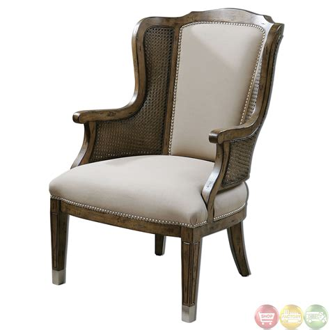 pecan finish side high back wing accent chair 23157