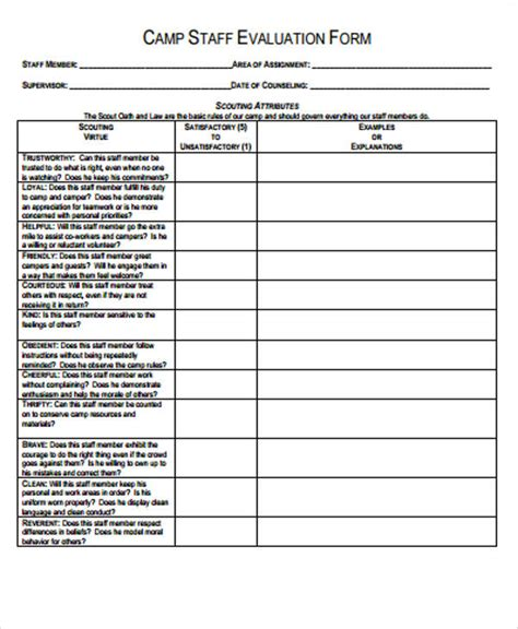 sample staff evaluation form 9 examples in word pdf 179 | Camp Staff Evaluation Form PDF